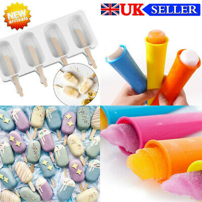 Frozen Ice Cream Pop Mold 4Cell Kitchen Popsicle Maker Lolly Cake Mould Tray New • 6.13£
