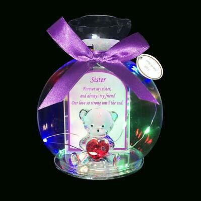 £8.95 • Buy Red Heart Crystal Teddy In Glass Jar With LED Beautiful Poem Gift Box For Sister