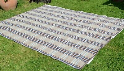 Lovely Pure Welsh Wool Antique Blanket Generous Double 92  X 72  Approx VGC • 68£