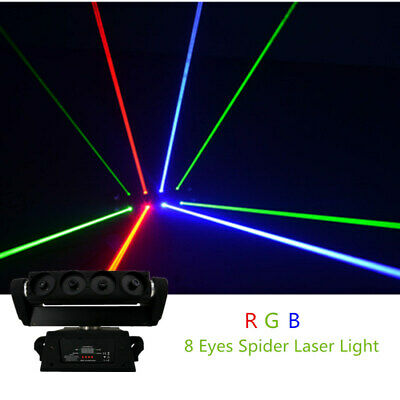 AU657.79 • Buy 8 Eyes 1W RGB Spider Beam Scan Laser Lights DMX DJ Party Stage Moving Head Lamp