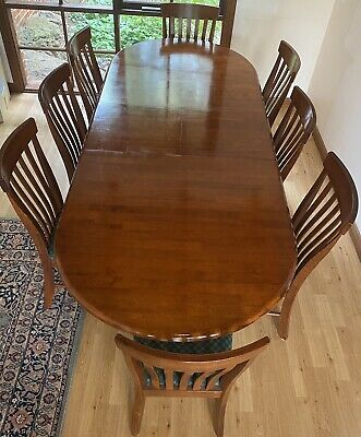 AU700 • Buy Solid Timber Extension Dining Table   8 Chairs - AS NEW