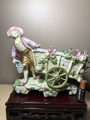 $ CDN125.54 • Buy Antique German Porcelain Figurine Of A Boy By Flower Cart