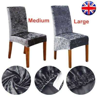 Crushed Velvet Dining Chair Covers Stretchable Protective Slipcover Home Grey • 24.95£