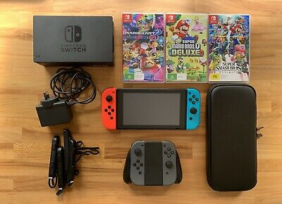 AU409 • Buy Nintendo Switch W/128gb Card+3 Games (Smash Bros,Mario Kart,Mario Bros)+Joy Cons