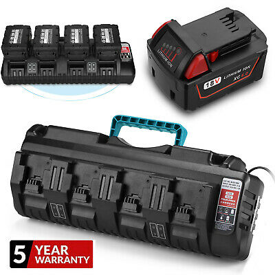 $24.99 • Buy For Milwaukee M18 Lithium XC 6.0 AH Extended Battery 48-11-1860 / 4 Port Charger
