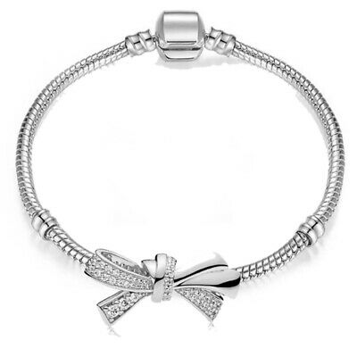 Silver Plated MADE WITH SWAROVSKI CRYSTALS Tennis Bracelet Love Knot Gift Xmas • 6.99£