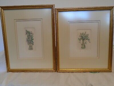 Pair Jenny Tapping Signed Etchings Framed • 18.50£