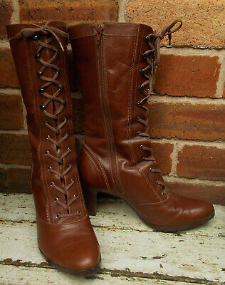 Clarks Tan Leather Calf Length Victorian Style Boots Size 5uk • 40£