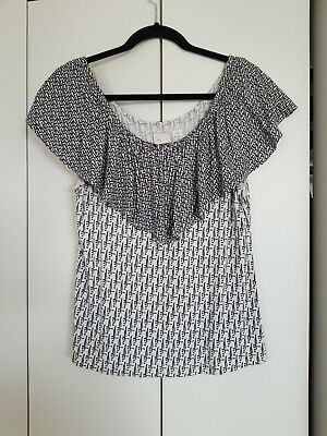 $ CDN9.12 • Buy Anthropologie Off The Shoulder Black And White Knit Top Small