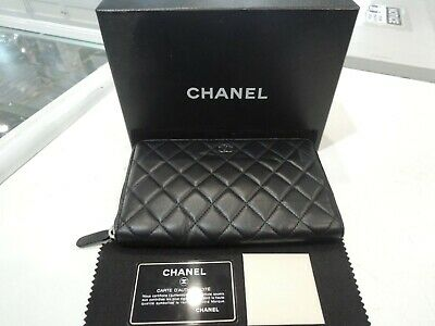 AU1299 • Buy CHANEL Large Classic Long Zip Flap Wallet Black Quilted Lambskin Leather Purse