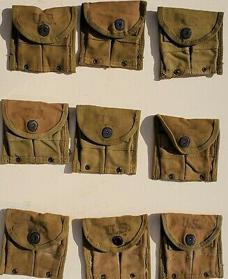$38 • Buy Us Wwii Khaki And Light Olive Drab Web M1 Carbine Clip Pouches
