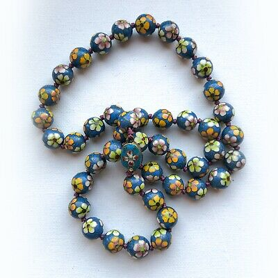 """$150 • Buy Vintage Chinese Export Floral Blue Cloisonne 13 Mm Bead Hand Knot Necklace 27"""""""
