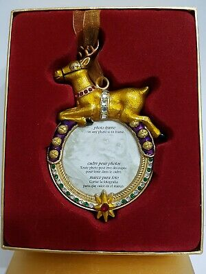 Enamel &  Jewel Christmas Photo Frame For Tree Reindeer Past Times? New Old... • 9.99£