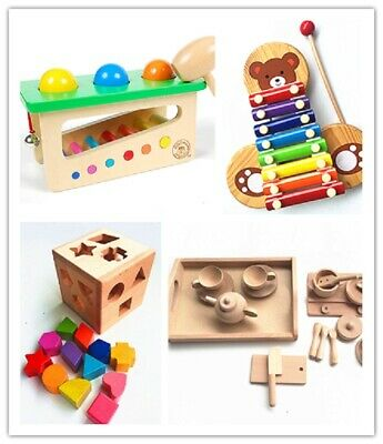 £12 • Buy Educational Wooden Toys  - Kitchen Set, Pounds And Roll, Xylophone, Shape Sorter
