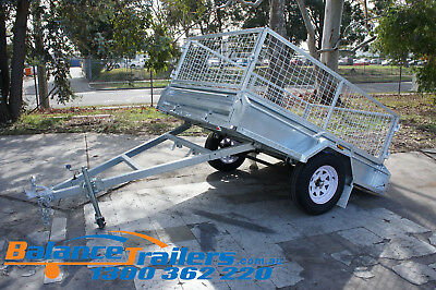 AU2000 • Buy 8X5 HOTDIP GALVANISED FULLY WELDED TIPPER BOX TRAILER WITH 600mm REMOVEABLE CAGE