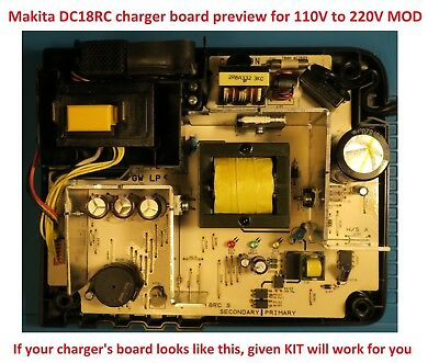 Makita Charger  DC18RC  And  DC18RC S  110V To 220-240V Conversion Kit - Mod • 18.28£