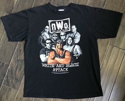 $ CDN100.26 • Buy Vintage WCW NWO Hollywood Hulk Hogan White And Black Attack T-shirt Sz L 1998