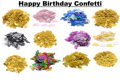 Happy Birthday Confetti Pink Silver Gold Blue Table Sprinkles Decorations Party • 1.49£