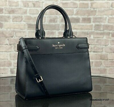 $ CDN152.46 • Buy Kate Spade Staci Leather Medium Satchel Crossbody Shoulder Bag Purse $399 Black