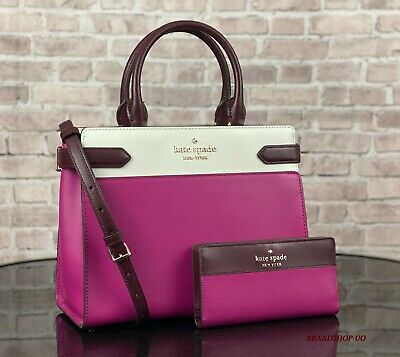 $ CDN204.13 • Buy Kate Spade Staci Leather Medium Satchel Crossbody Shoulder Bag Purse Wallet Set