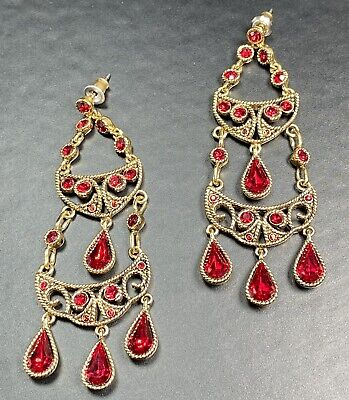 "$ CDN1.32 • Buy MONET Signed Vintage Chandelier Earrings 2.5"" Red Crystal Rhinestones Lot4"