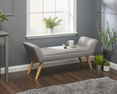 Milan Fabric Upholstered Bench Bed End Window Seat Bedroom Living Room Grey • 99.99£