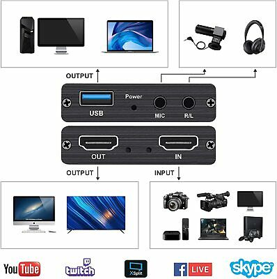 1080P HDMI Video Capture Card 4K 60fps Screen Record Game Streamer Device USB3.0 • 16.15£