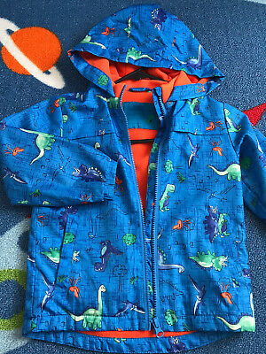 Boys Blue Dinosaurs Print Hoodie Jacket Clothes Size Age 3-4 Years • 9.99£