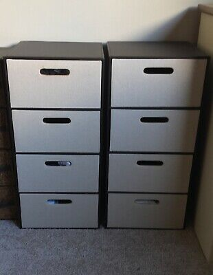 2 X Solid Storage 4 Drawers Brown • 49£