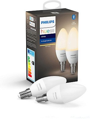 AU52.37 • Buy Philips Hue White Smart Candle Bulb Twin Pack LED [E14 Small Edison Screw] With