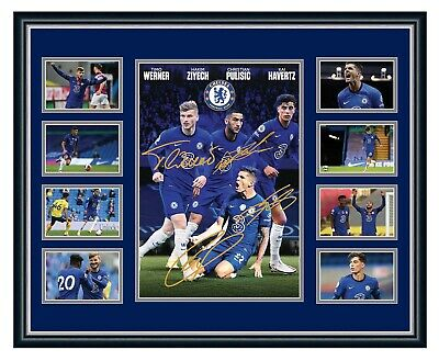 AU99.99 • Buy Chelsea Fc 2020/21 Werner  Ziyech Pulisic Havertz Signed Le Framed Memorabilia
