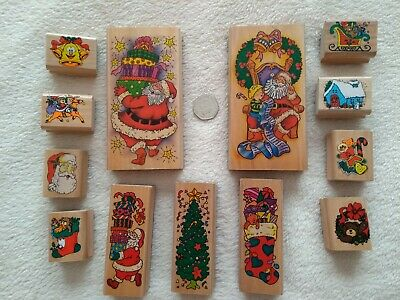 £13 • Buy 13 Wooden Christmas Rubber Stamps Large, Medium & Small - Santa, Tree, Stocking