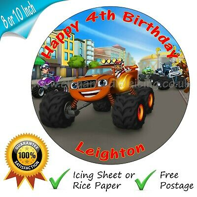 £3.95 • Buy Blaze And The Monster Machines Cake Topper Personalised Edible Cake Topper