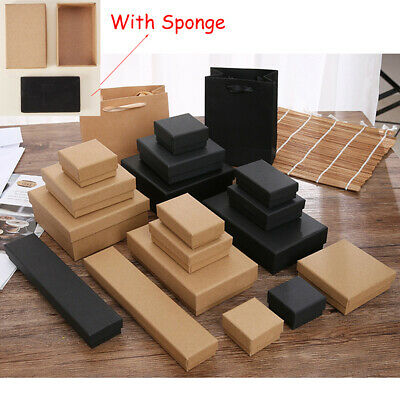 AU11.49 • Buy Cardboard Jewellery Gift Box Earring Necklace Bracelet Display Case Brown Black