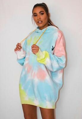 $ CDN45 • Buy Playboy X Missguided Pastel Tie Dye Oversized Hoodie Dress Size S NWOT
