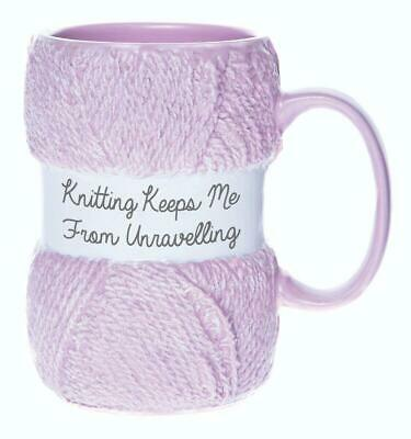 £12.48 • Buy Knitted Mug 'Knitting Keeps Me From Unravelling' Gift Xmas