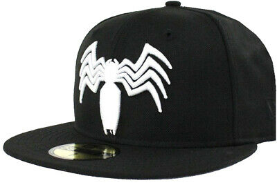 New Era Venom Black White Logo 59Fifty Fitted Cap Marvel Cap Limited Edition • 46.37£
