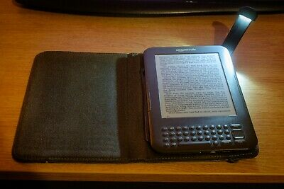 Kindle Keyboard - Graphite - No Ads + Lighted Leather (Blue) Cover Bundle • 55£