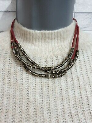 £7.90 • Buy FREEDOM Red Multi Strand Cord Necklace Bronze Tone Rings Costume Jewellery