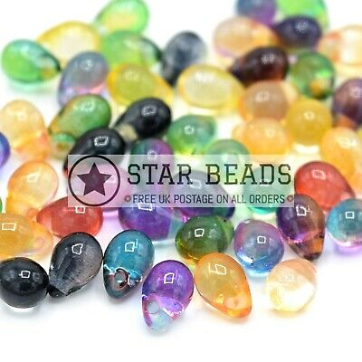 50 X Smooth Glass Teardrop Pendant Beads 6x4mm - Mixed Colour • 3.20£