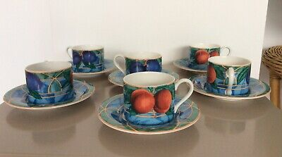 6 X French Coffee Cups & Saucers Fine Porcelain With Plums Pattern Perfect • 17£