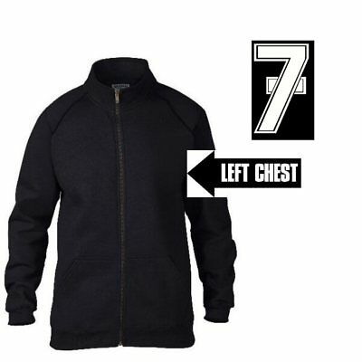 Lucky 7 Zipped Jacket Zip Barry Sheene Number Left Breast Chest Black White Gold • 14.95£