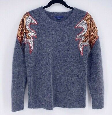 $ CDN36.56 • Buy W BY WORTH Wool/Mohair Charcoal Grey Pullover Sweater Sequin Embellished~M