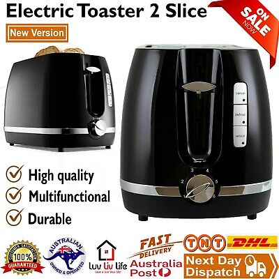 AU40 • Buy Toaster 2 Slice Electric Black & Silver With Warming Rack Crumb Tray Toast Slot