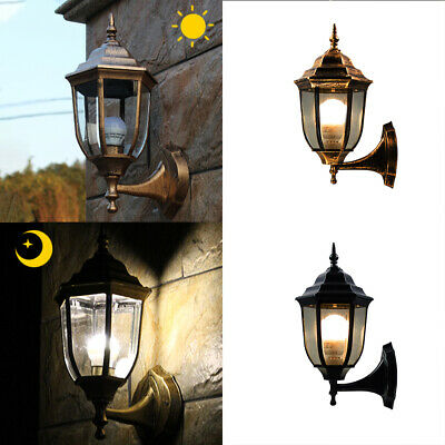 Outdoor Garden LED Wall Light Yard Patio Retro Lantern Hexagonal Decking Lamp UK • 13.31£