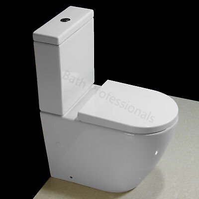 Toilet WC Close Coupled Compact Comfort Height Soft Close Seat Rimless T32 • 159.99£