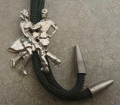 **SQUARE DANCING COUPLE** WESTERN/COWBOY BOLO TIE-Braided Cord With Ribbed Tips • 4.99£
