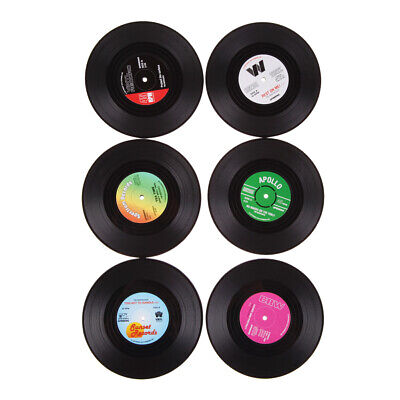 6Pcs Retro Vinyl Record Drinks Coasters Table Cup Mat CD Coffee Placemat N UK • 5.84£