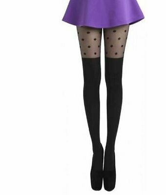 Pamela Mann Over The Knee Polka Dot Tights In Black:  One Size  • 6.99£
