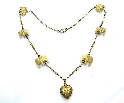 £80 • Buy Antique Edwardian Bone Elephants Necklace With Opening Heart Locket Pendant